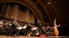 Sreyashi Dey, with the University of Michigan choir and faculty Jazz Ensemble